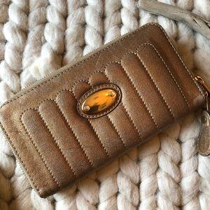 Authentic-CHLOE Metallic Zipper Closure Wallet Bag